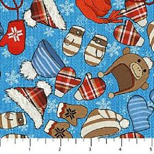 Hats on Blue Cutie Hooties Winter Flannel Northcott Fabrics by the 1/2 yard