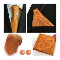 Tie Pocket Square Cufflinks Set Orange Paisley Handmade 100% Silk