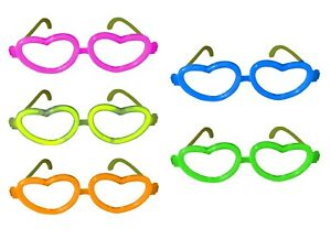 Glow Heart Glasses Neon Individually Wrapped - Disco, Party, Rave, Fancy Dress