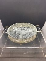 Vintage Glass Metal Serving Divided Tray