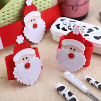 1/10X Christmas Santa Claus Napkin Ring Serviette Tissue Holder Table Decor ZY