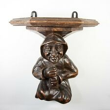 "Antique Hand Carved Black Forest 10"" Bracket or Wall Shelf, Robed Monk or Gnome"