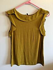Massimo Dutti Womens Blouse Sleeveless Ruffle Mustard Size Small