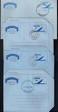 LIBERIA 1960 69 FOUR AIR LETTER EACH W/FDC CANCEL IN MONROVIA DIFFERENT CANCELLO