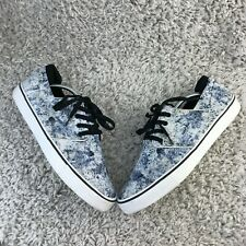 Bershka Mens Shoes UK 10 Eur 44 White Blue Canvas Trainers