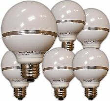 LED G25 Globe Light Bulb.   Lot of 6.  8W replaces 70W Warm. Dimmable 2700K