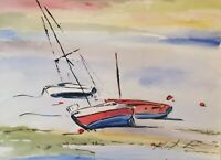 "ORIGINAL watercolour painting estuary France 15"" X 11"" Marilyn Allis"