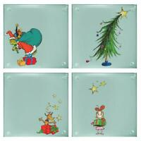 Dr. Seuss Grinchmas 4 piece Stacking Glass Coaster Set The Grinch Max Christmas