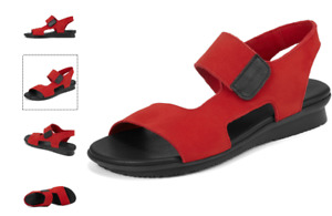 Arche Aurana Red/Black Nubuck Comfort Flat Sandal Women's sizes 36-41/5-10 NEW!