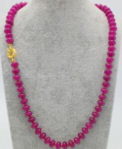 "Natural 5x8mm Fuchsia Jade Rondelle Gemstone Beads Necklace 18"""