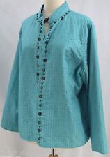 Alfred Dunner thin Quilted beaded Open Front Blazer Jacket light coat Aqua SZ 16
