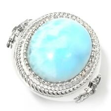 Sterling Silver 20.37ctw Larimar Cocktail Ring, Size 7