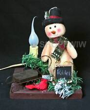 Hand-Crafted Primitive Snowman With Stovepipe Hat, Sled, and Electric Candle