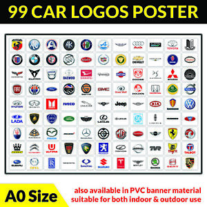 99 car logos poster A0 - bmw audi volkswagen ford nissan volvo vauxhall renault