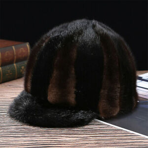 100% Real Mink Fur Hat Thicken Winter Warm Cap Horseman Hat Peaked Cap for Men