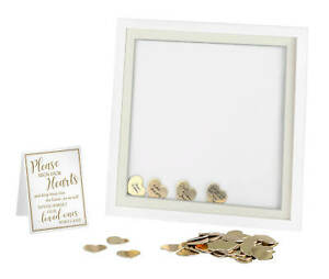 White Guest Book Alternative Signing Frame with 48 Gold Hearts wedding guestbook