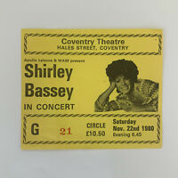 Shirley Bassey 22 November 1980 Coventry Theatre concert ticket stub