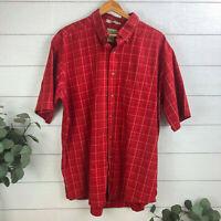 L.L. Bean Short Sleeve Button Down Shirt Men's Size XL Wrinkle Resistant Red