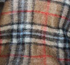 """Lord & Taylor Mohair Wool Brown Plaid Throw Blanket 53"""" x 70"""""""
