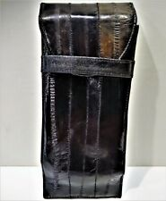 Vintage Soft Black/Brown Real Eel Skin Puffed Sunglasses Eyeglass Case Pouch