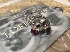 Lori Bonn Hematite Plum Quartz Bronze Smoky Quartz Sterling Stack Rings Size 6