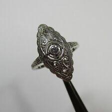 969 - Art Deco Ring aus Weißgold mit Altschliff Diamant und Diamantrosen - 2400