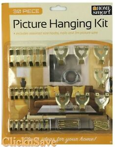 Strong Picture Hanging Kit Photo Frame Hooks Nail Wire 30 Pcs Assorted Set