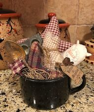 Primitive Country Tea Cup Gathering Star Muffin Pan Tuck Kitchen Decor Ribbon