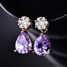 HUCHE Amethyst Purple Drop Dangle Yellow Gold Filled Women Lady Earrings Studs