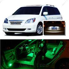 For Honda Odyssey 2005-10 Green LED Interior Kit + Xenon White License Light LED