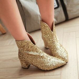Womens Glitter Sequins Luxury Pointy Toe Block Mid Heels Ankle Boots Dress Shoes