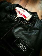 Energie / Sixty Black Real Leather Mens Racer Jacket M-L Biker Jacket