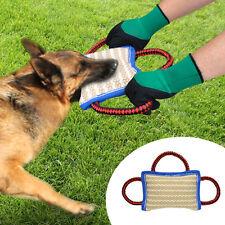Jute Dog Bite Pillow Durable Linen Training Builder Chew Bark Toy with 3 Handles