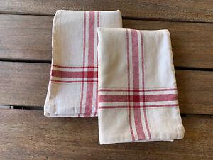 PAIR Pottery Barn Red/Natural Grainsack Stripe Pillow Shams 14 x 20  Farmhouse!