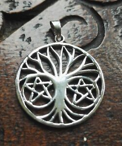 Sterling Silver Tree Of Life Double Pentagram Pendant Pagan Wiccan Celtic Folk