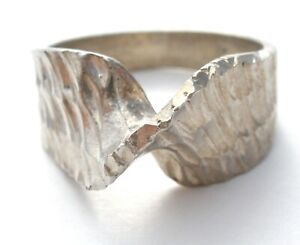 Sterling Silver Twisted Ring Diamond Cut Size 6 Vintage Retro Jewelry 925
