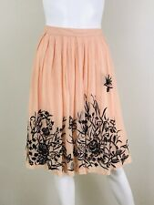 Odille Anthropologie Embroidered Skirt Size 4 Peach Brown Floral Butterfly Bead