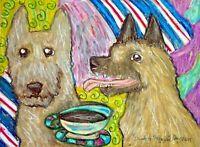 BELGIAN LAKENOIS Drinking Coffee Art Print 8x10 Vintage Style Signed Artist Dogs