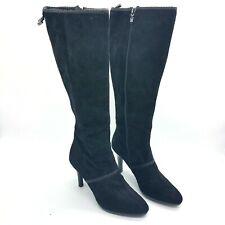 Tahari Gable Black Suede Knee High Dress Boots Size 8M