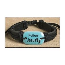 Leather Follow Jesus Inspirational Footprints Religious Christian Bracelet