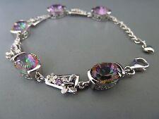 100% 925 Sterling silver Bracelet, natural stones (Mystic Topaz). Aussie Seller