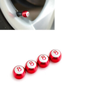 8-Ball Aluminium Red Ball Tire Wheel Air Valve Stem Cap 4pcs For Kia Hyund