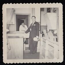 Old Vintage Antique Photograph Two Men in Workroom Old Time Camera Man With Pipe