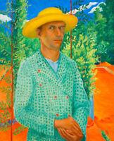 Gyula Czimra : Self-portrait with Straw Hat : 1934 : Archival Quality Art Print