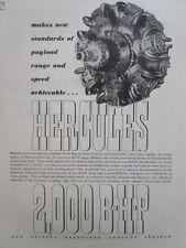 11/1946 PUB BRISTOL AEROPLANE BRISTOL HERCULES 2000 BHP MOTEUR ORIGINAL AD
