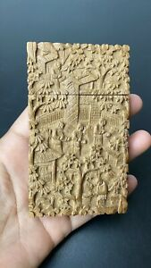 Antique 19th Century Chinese Carved Wooden Card Case