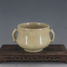 China antique Porcelain SONG GE kiln yellow glaze crack Incense Burners