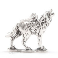 WOLF Charm Pendant Animal HOWLING Wolf 925 Sterling Silver .925 Detailed 3D