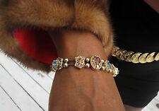 14k gold 11 slides bracelet with Amethyst sapphire, topaz, ruby peridot 7.5 inch