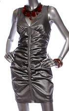 Jessica McClintock ~ Silver Ruched Taffeta Lace Back Clubwear Dress 4 NEW $169